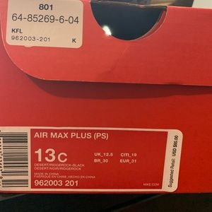 168c4f97bee81e Nike Shoes - PRESCHOOL NIKE AIR MAX PLUS BEIGE BLACK 13c